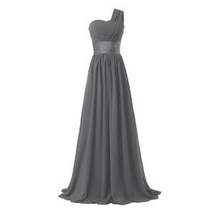 Image 5 - LLY6818BL # Chiffon Dark Blau Rot Brautjungfer Kleider One schulter Lange Braut Hochzeit Toast Kleid Mädchen Nach Freies großhandel