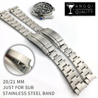 Man Watch Bands For Sub Stainless Steel Watch Strap For Rolexwatch Solid Curved End Brand Watchband Wristwatch 20mm 21mm Silver