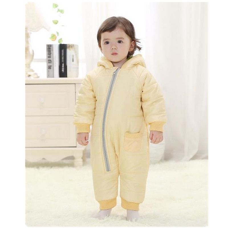 3-18Months Baby Rompers Girls Boys Winter Clothes Warm Baby Winter Jumpsuit Skiing Outerwear Clothing Colorful Snowsuit B0055