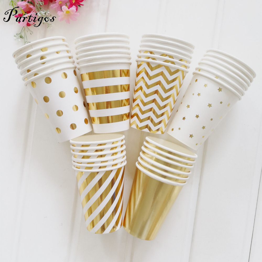 10pcs/pack Gold Silver Stripes and dot Paper cup Wedding Favors ...