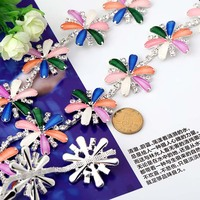 Six Leaf Petal Shape Glass Crystal Rhinestones Chain DIY Wedding Dress And Sew On Clothing Jewelry