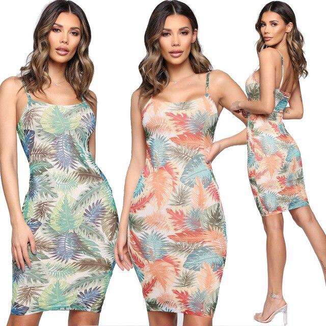 YZ 2019 Summer Women's Wear Pullover Middle Waist Tight Hip Sexy Sling Digital Print Women Dress