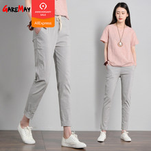 be8a7ea2efd6 Garemay Cotton Linen Pants for Women Trousers Loose Casual Solid Color  Women Harem Pants Plus Size
