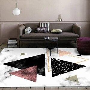 Image 2 - Alfombra de felpa de imitación nórdica para sala de estar, alfombra antideslizante para cabecera, para puerta estera dormitorio, color blanco, negro, mármol, geométrico, azul marino
