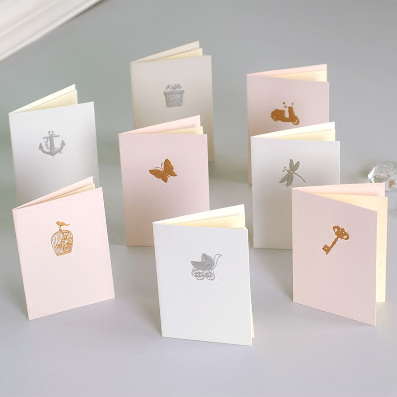 Aliexpress Com Buy Home Utility Gift Birthday Gift: Creative Gold/Silver Embossed Handmade Mini Gift Cards For