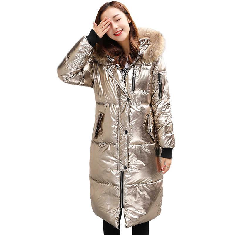 4b1b88e86cd Women Winter Down Parka Fur Hooded Long Silver Down Jacket Female Velvet  Shiny Fabric Fashion Thick