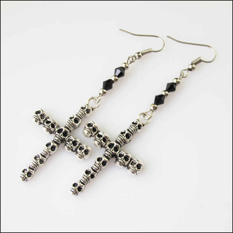 New Winsome Silver Retro Skull Cross Black Crystal Dangle Hook Earrings Women Jewelry