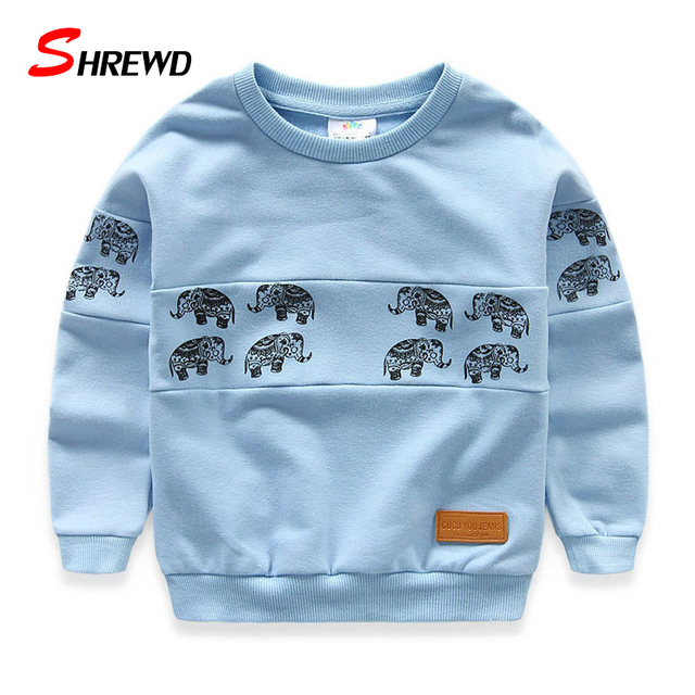 T Shirt Brand Boys Spring 2017 New Fashion Elephant Printing Boys T Shirt Long Sleeve O-neck Children Clothing 4915W