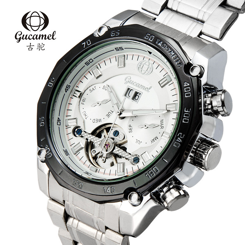 GUCAMEL Top Brand Tourbillon Men Watch Automatic Business Stainless Steel Male Wristwatch Waterproof Hodinky Relogio Masulino