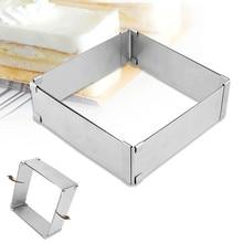 Xmpromo Metal Mousse Cake Ring Mold Square Adjustale 3D Mould Stainless Steel Cutter Slicer Baking Tools 15-28cm