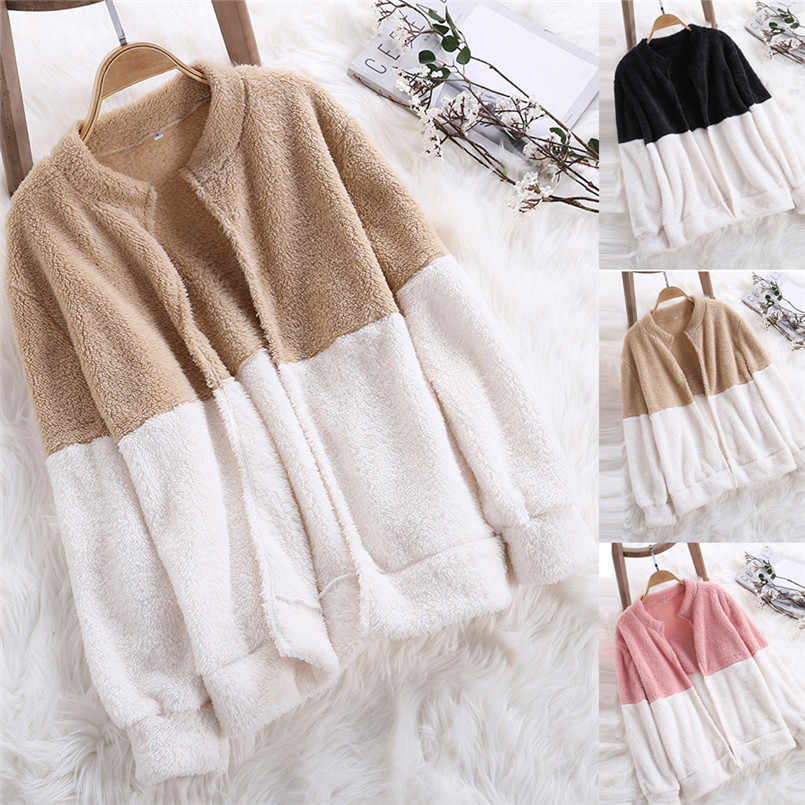 Fashion Womens Autumn,Winter Fluffy Coat Winter Jacket Cardigan Overcoat Outwear Jumper sueter mujer 2018 Hot