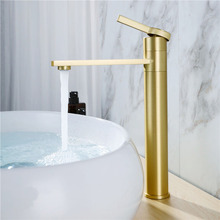 Brushed Gold Basin Faucet Solid Brass Bathroom Sink Water Tap Rotation Faucet Mixer Single Handle Deck Mounted стоимость