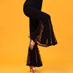 Image 4 - Nero Garza Moderne di formazione di danza Latino abbigliamento svasato pantaloni per donna/donne/signora, vogue costume prestazioni indossa KR0316