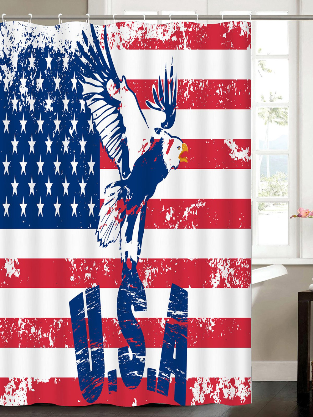 Patriotic American Flag Eagle Waterproof Fabric Shower Curtain Waterproof  Fabric Bath Decor Curtain With Hooks