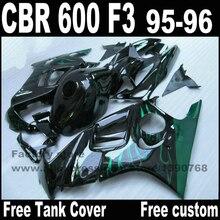 Мотоцикл обтекатели комплект для HONDA CBR 600 F3 1995 1996 зеленое пламя в черном cbr600 95 96 пластиковый обтекателя kit YP29
