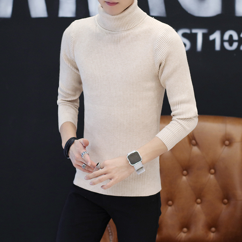 2019 New Spring Autumn Mens Sweaters Casual Male Turtleneck Man's Black Solid Knitwear Slim Fit Brand Clothing Sweater XXL