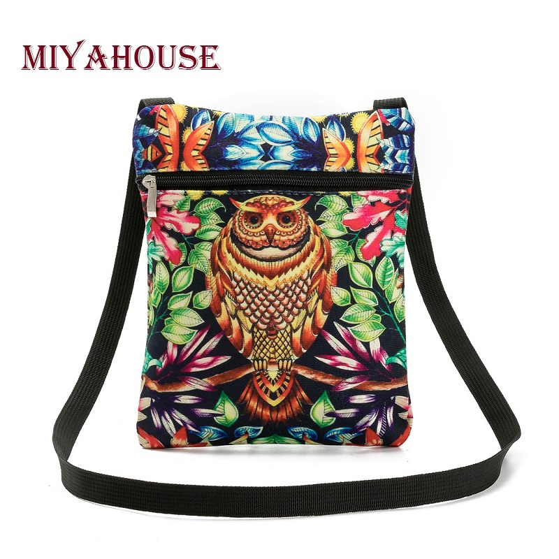 Miyahouse Hot Sale Women Mini Flap Shoulder Bag Colorful 3D Owl Printed Canvas Messenger Bag Female Daily User Small Bag Lady miyahouse summer women messenger bags canvas leather cartoon owl printed crossbody shoulder bags small ladies flap bag casual