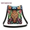 Miyahouse venta caliente de las mujeres mini flap bolso de hombro colorido 3d Usuario Diario búho Impreso Canvas Messenger Bag Mujer Pequeña Bolsa señora