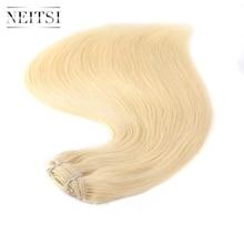 """Neitsi прямо дважды обращается Реми клип в человеческих Наращивание волос 22 """"7 шт./компл. 110 г 613 #60 # платиновый отбеливать Блондинка Клип Ins"""