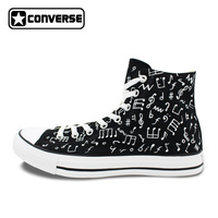 Converse All Star Minim Shoes Musical Note Hand Painted High Top Canvas Casual Sneakers Men Women
