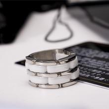 คลาสสิก 18KGP 316L สแตนเลสแหวนเซรามิคสำหรับชายหญิงคู่แฟชั่น Charming เครื่องประดับจัดส่งฟรี (GR207)