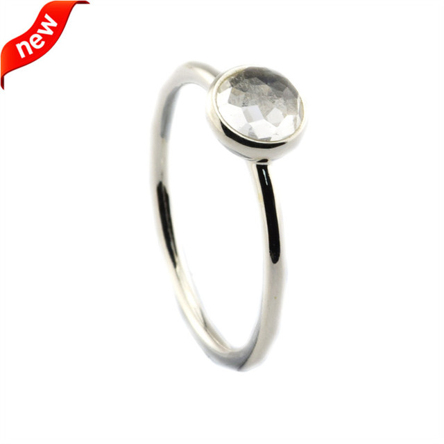 April Droplet Rings With Rock Crystal 100% 925 Sterling Silver Fine Jewelry Free Shipping