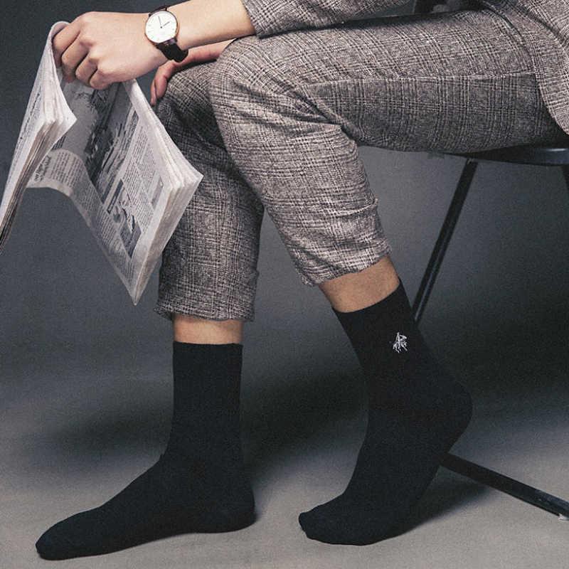 מזח פולו גרבי 5 זוגות\חבילה גברים מותג שמלת גרבי Meia גרבי כותנה עסקי רקמת חורף צוות גרבי גברים