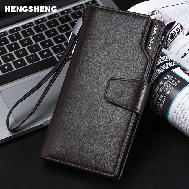 HENGSHENG brand Fashion Genuine Cow Leather Wallet Coin pocket big space Men Walet zipper Wallets Men Phone Purse for Business