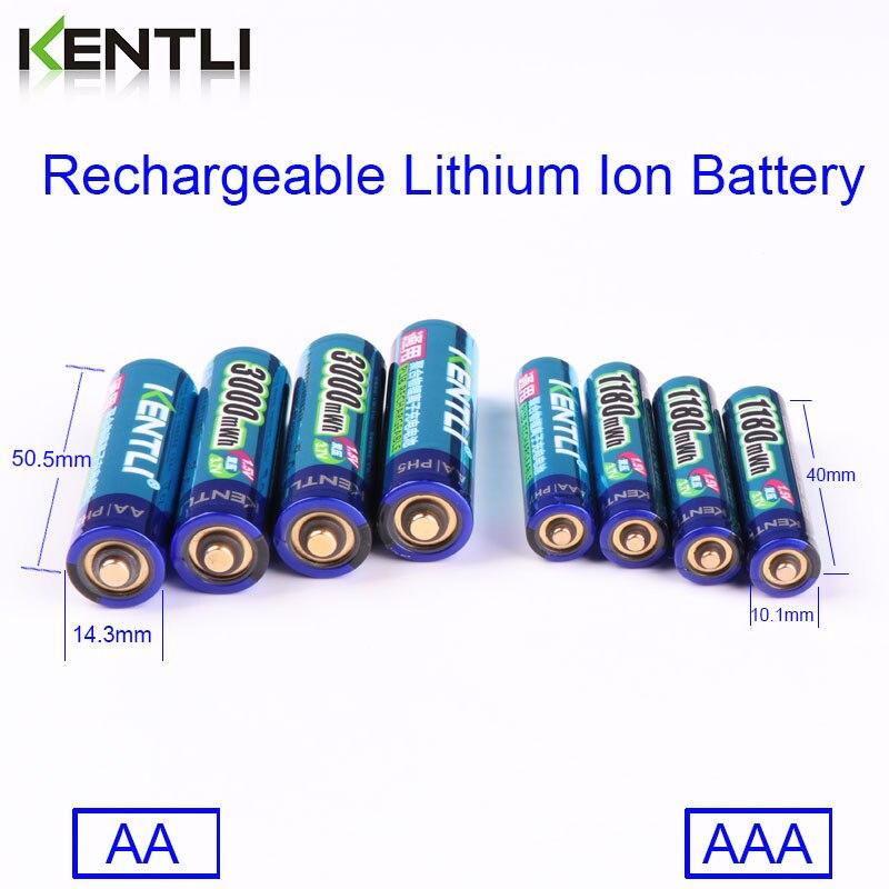 KENTLI 8 шт. 1,5 в батарейки AA AAA литий ионная литий полимерная литиевая батарея + 4 слота AA AAA литиевая батарея Li ion смарт зарядное устройство - 3