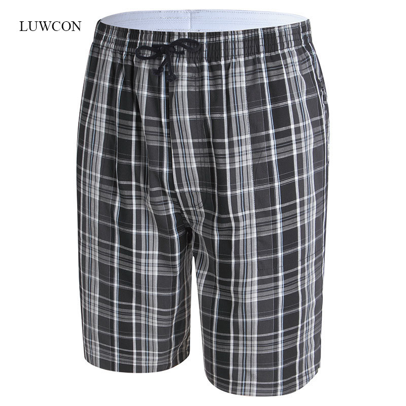 Men's Sleep & Lounge Underwear & Sleepwears Genteel Luwcon Mens Cotton Pajamas Half Length Comfortable Sleep Pants Men Home Clothing Casual Plaid Sleep Bottoms