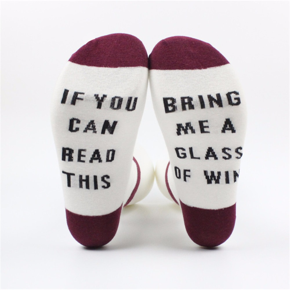 HOT Sales Funny Women Men Socks Cotton Socks If You Can Read This Bring Me Wine Coffee Autumn Spring Winter Lovers Socks