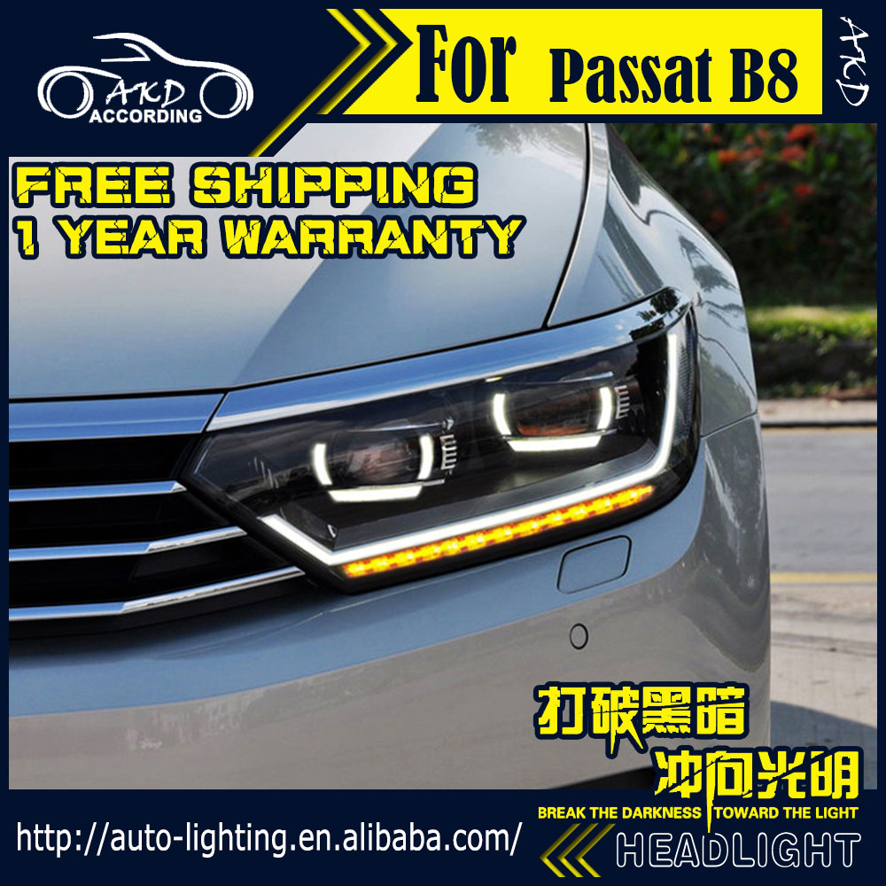 akd car styling headlight assembly for vw passat b8. Black Bedroom Furniture Sets. Home Design Ideas