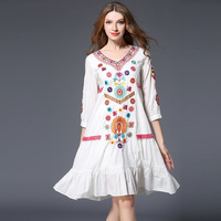 Posimi Second Dress White Sandy Beach Easy Long Fund Will Code Nation Wind Embroidery Seaside On
