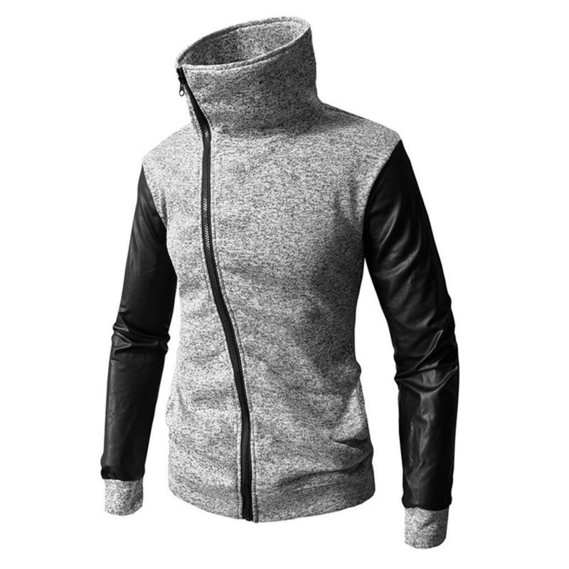 New Mens Autumn Winter Stand Collar Diagonal Pull Fashion Hoodie Men Casual Long Sleeve Zipper Hooded Male Tops 2colour