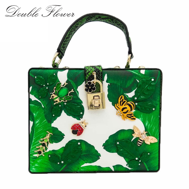 Green Banana Leaf Small Insects Appliques Women Fashion Handbags Shoulder & Crossbody Bags Ladies Casual Evening Party Totes Bag casual small candy color handbags new brand fashion clutches ladies totes party purse women crossbody shoulder messenger bags