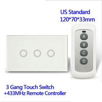 110V Remote Control Wall Touch Switch Luxury White Crystal Glass Normal 3 Gang 1 Way Switch