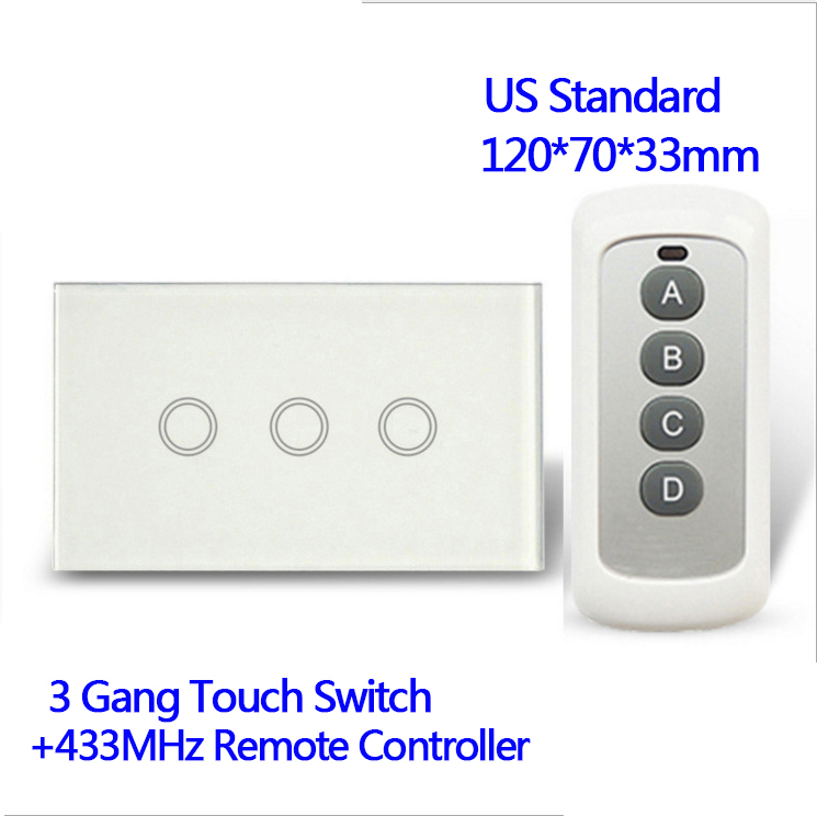 110V Remote control Wall Touch Switch Luxury White Crystal Glass, Normal 3 Gang 1 Way Switch US Standard 433MHz With Pilot white 3 gang remote control light switch crystal glass screen switch wallpad luxury us au led touch switch with remote control