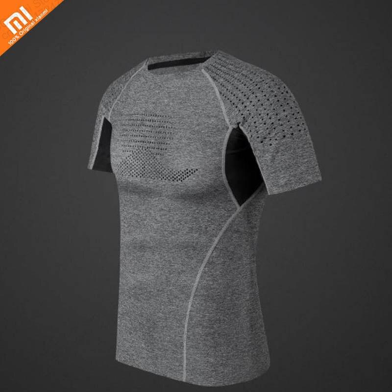 Original xiaomi mijia men s high elastic sports compression shirt smooth cool men s short sleeve