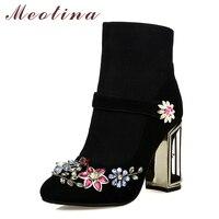 Meotina Luxury Design Genuine Leather Boots Women Flower High Heels Ankle Boots Suede Crystal Strange Heel