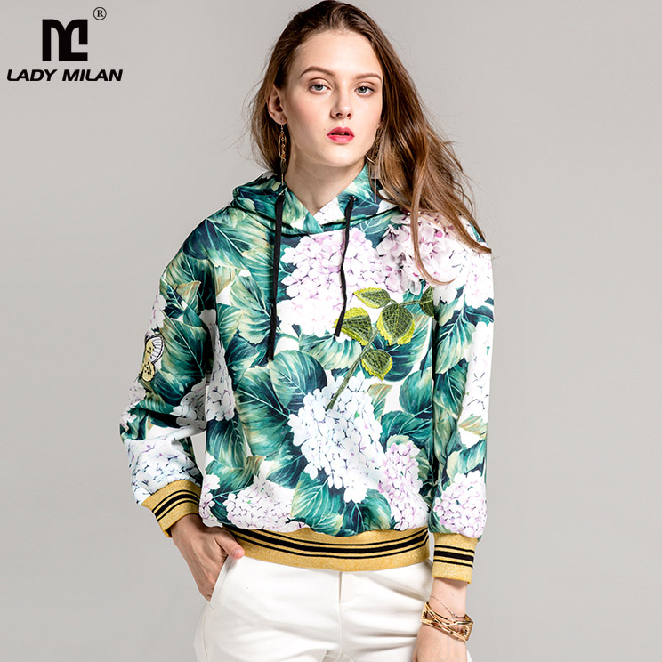 New Arrival 2018 Spring Womens Long Sleeves Floral Printed Appliques Hooded Collar Pullover Fashion Jackets Outerwear