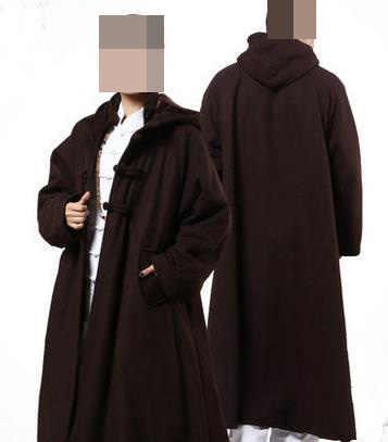 Унисекс темно-коричневый зимний медитационный шерстяной твидовый плащ кунг-фу дзен теплый плащ для единоборств буддизм костюм монахов длинное пальто