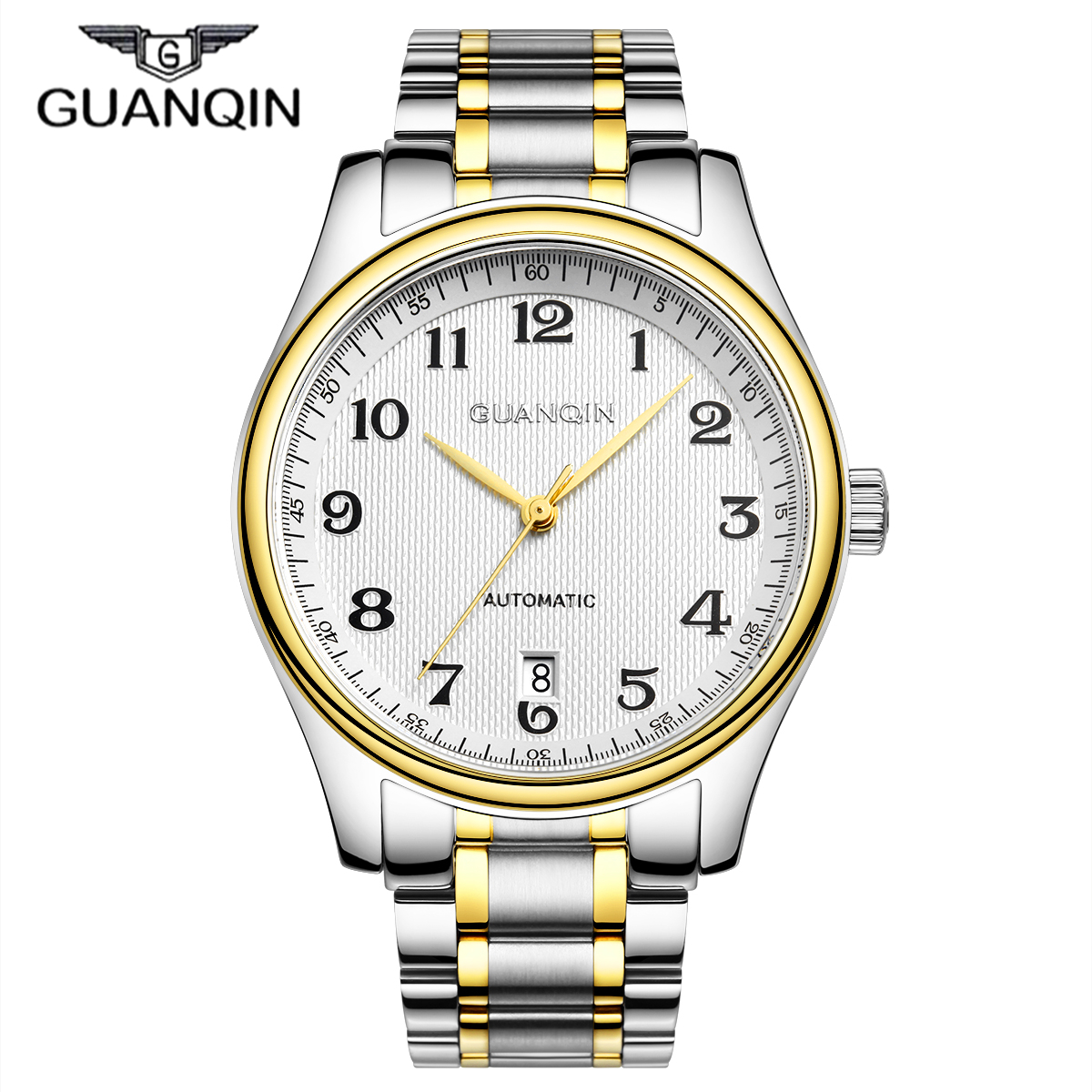 ФОТО Mechanical Watches Relogio Masculino 2016 GUANQIN Men Business Watch Stainless Steel Waterproof Brand Watches reloj hombre