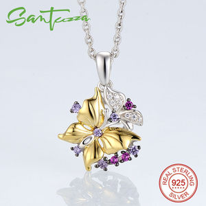 Image 2 - SANTUZZA Silver Jewelry Set For Woman Pure 925 Sterling Silver Yellow Gold Color Butterfly Earrings Pendant Set  Fashion Jewelry