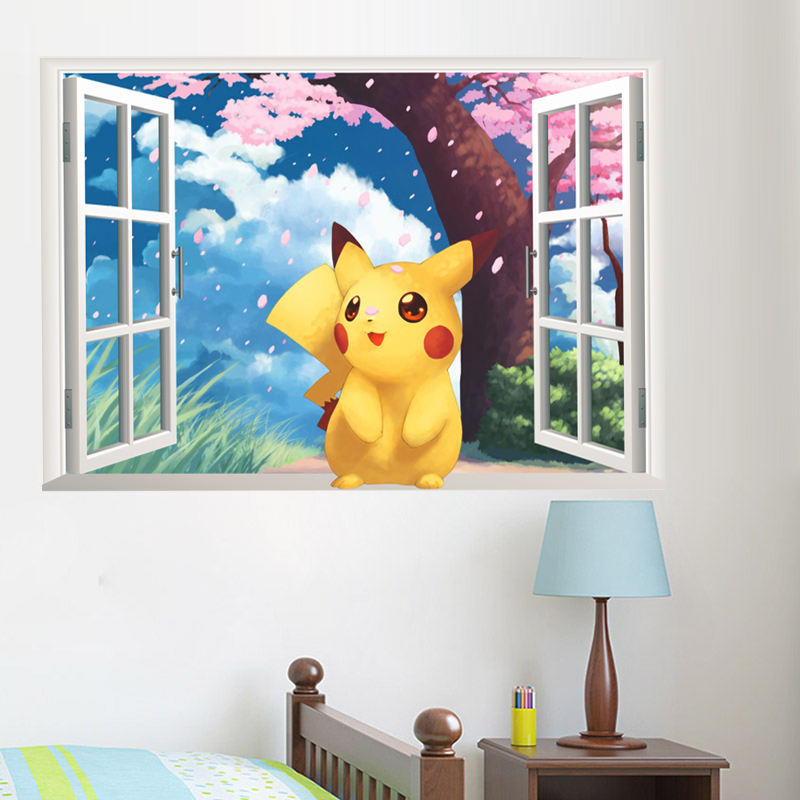 popular game pikachu pokemon go wall stickers for kids rooms bedroom cartoon window wall decals pvc diy posters