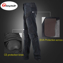 Motorcycle Racing Pants Jeans Dirt Bike Motocross Offroad Riding Protective Gear Pants Cycling Cow Boy Trousers + Knee Protector(China)