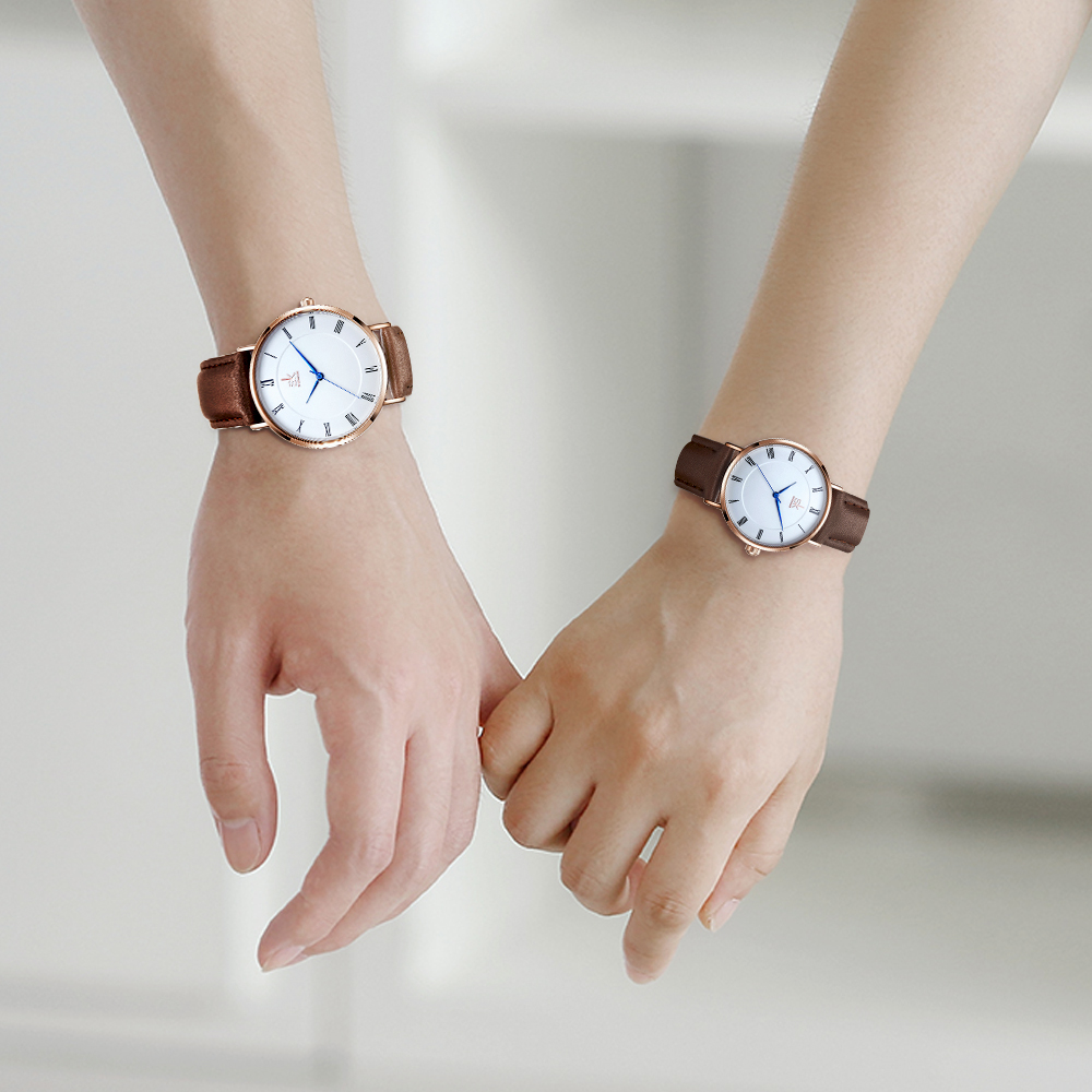 Shengke 2019 Lovers Watches Set Quartz Wrist Watch For Men And Women Beloved Simple Leather Band Brown Saat Relojes Para Mujer