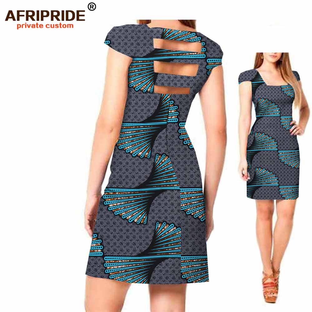2018 Original AFRIPRIDE Private Custom New african dress Summer short sleeve above knee casual cotton dress for women A722541 in Africa Clothing from Novelty Special Use