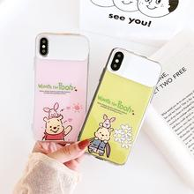 Mirror IMD Funda for iphone X Case Cartoon Winnie the Pooh Phone 6 6S 7 8 Plus XR XS Max Cover Luxury Capa