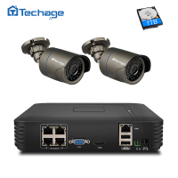 Techage HD 4CH POE NVR Kit 960P 1080P CCTV System IR Night View Outdoor Waterproof IP