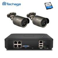 Techage HD 4CH POE NVR Kit 960P 1080P CCTV System IR Night View Outdoor Waterproof IP